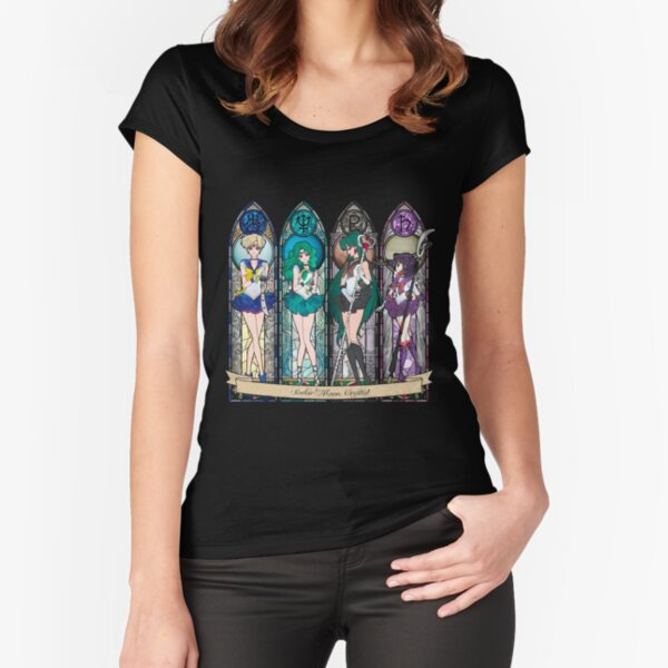 S.M. Crystal stained glass style Fitted Scoop T-Shirt