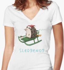 Sledgehog Women's Fitted V-Neck T-Shirt