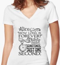 """""""How long is forever?"""" Alice in Wonderland quote Women's Fitted V-Neck T-Shirt"""