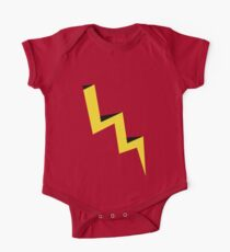 Yellow lightning bolt with black shadow One Piece - Short Sleeve