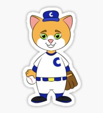 Cat Playing Baseball Sticker