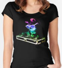 Camiseta entallada de cuello redondo CASA CAT (Rainbow DJ Kitty)