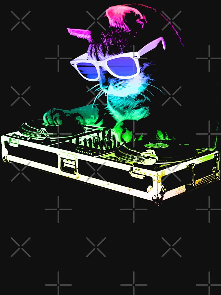 HOUSE CAT (Rainbow DJ Kitty) by robotface