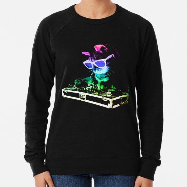 HOUSE CAT (Rainbow DJ Kitty) Lightweight Sweatshirt