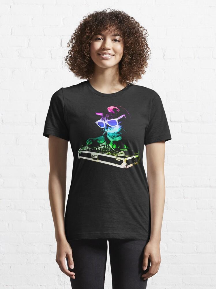 Alternate view of HOUSE CAT (Rainbow DJ Kitty) Essential T-Shirt