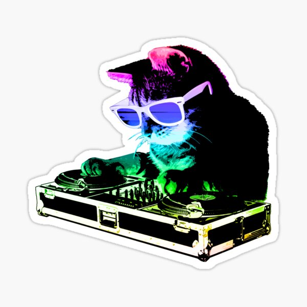 HOUSE CAT (Rainbow DJ Kitty) Sticker