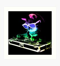 HOUSE CAT (Rainbow DJ Kitty) Art Print