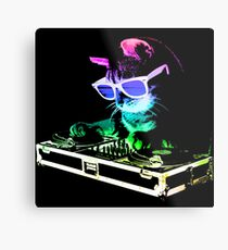 HOUSE CAT (Rainbow DJ Kitty) Metal Print