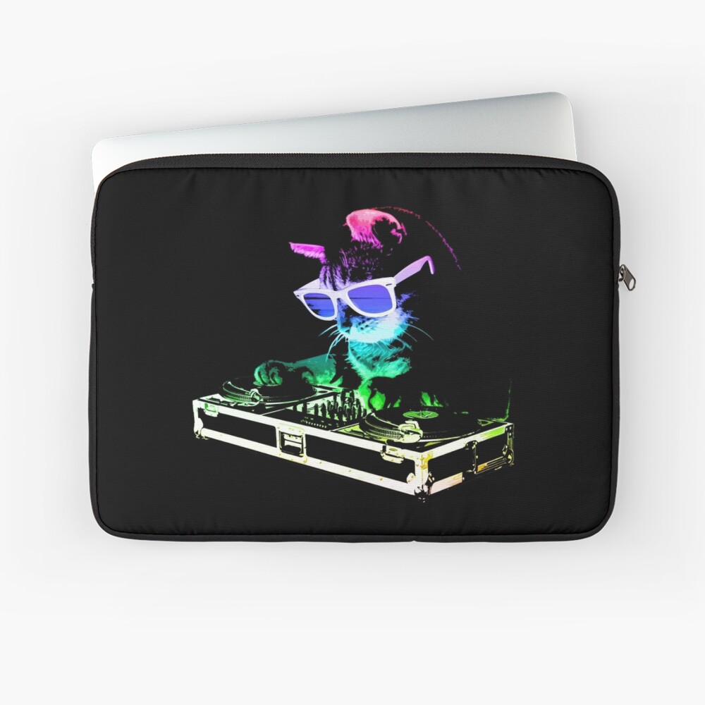 HAUS CAT (Regenbogen DJ Kitty) Laptoptasche