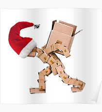 Christmas character carrying a large box Poster