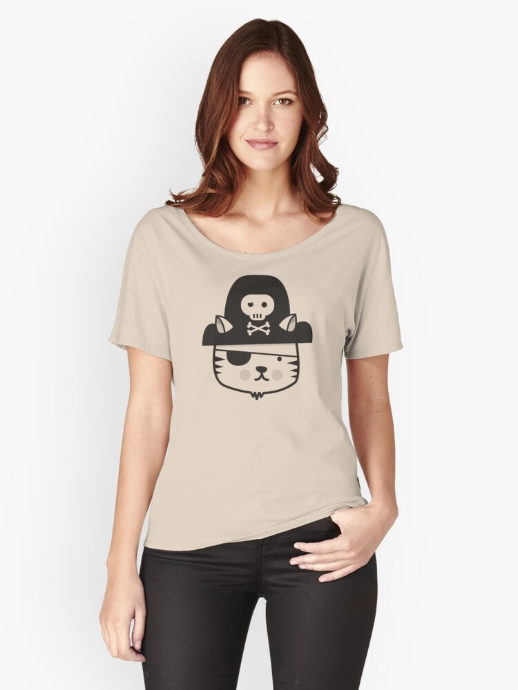 Pirate Cat (one colour) Women's Relaxed Fit T-Shirt Front