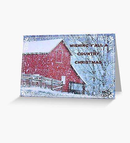 """Wishing Y'all A Country Christmas"" Christmas Card Greeting Card"