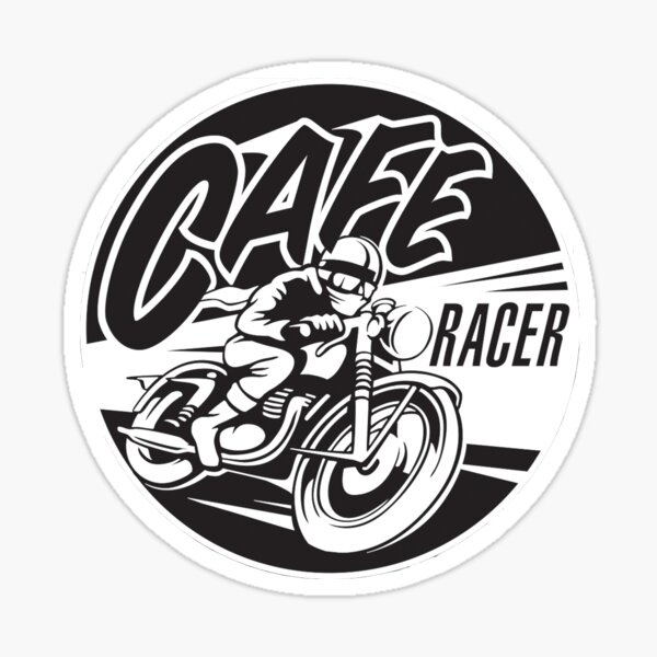 Get Cafe Racer TV merchandise with a classic black & white logo Sticker