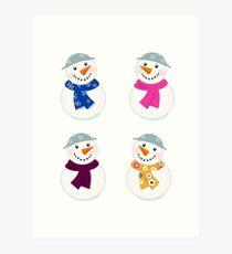 Colorful vector snowman icons : art illustration Art Print