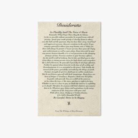 Original Desiderata Poem by Max Ehrmann Art Board Print