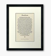 Original Desiderata Poem by Max Ehrmann Framed Print
