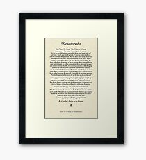 Original Desiderata Poem by Max Ehrmann Framed Print