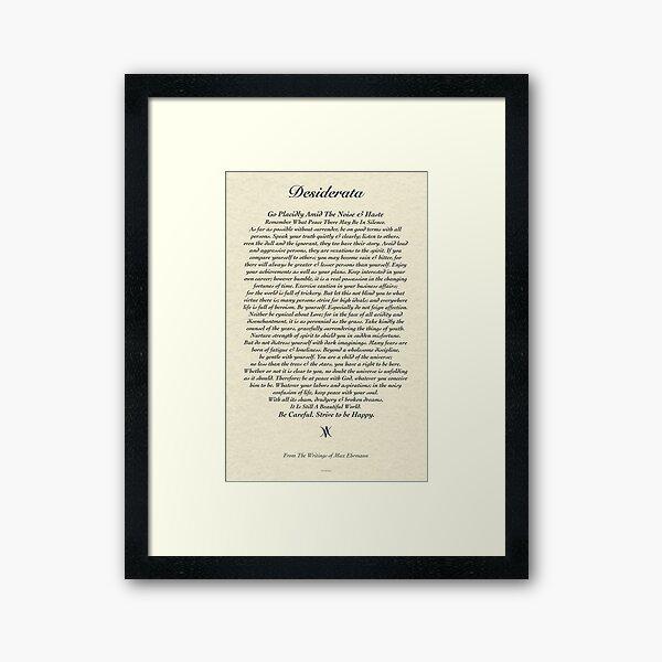 Original Desiderata Gedicht von Max Ehrmann Gerahmter Kunstdruck