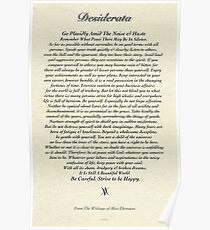Original Desiderata Poem by Max Ehrmann Poster