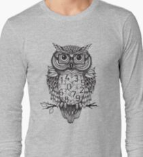 Owl sketch with numbers, glasses Long Sleeve T-Shirt