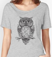 Owl sketch with numbers, glasses Women's Relaxed Fit T-Shirt