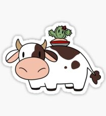 Cow and Flower Cactus Sticker