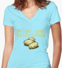 Po-tay-toes Women's Fitted V-Neck T-Shirt