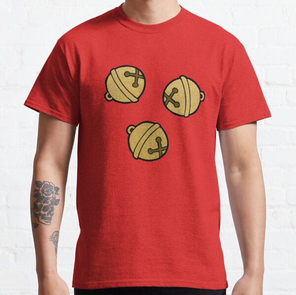 Jingle Bells Christmas Pattern in Gold and Red Classic T-Shirt