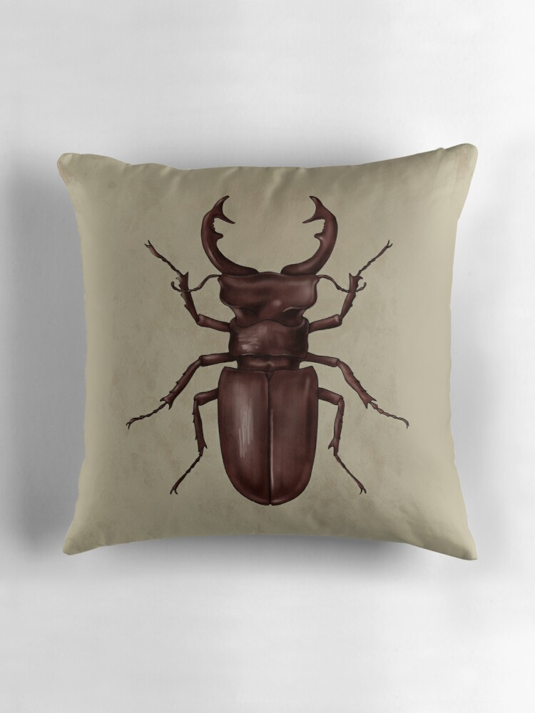 Quot Stag Beetle Quot Throw Pillows By Juxika Redbubble