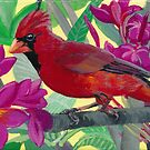 Cardinal in a Plumeria Tree by Wendy Roberts