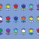 Little tulips - multi on light blue - pretty floral pattern by Cecca Designs by Cecca-Designs