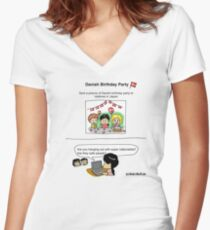 Danish Birthday Party Women's Fitted V-Neck T-Shirt
