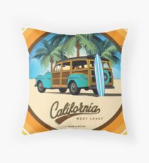 Woodie in California Throw Pillow