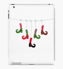 Cute colorful Santa legs handing : green red iPad Case/Skin