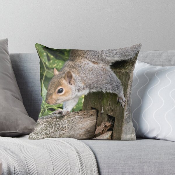 Squirrel On the Hunt Throw Pillow