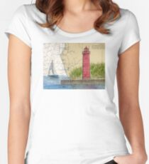 Muskegon Lighthouse MI Nautical Chart Cathy Peek Women's Fitted Scoop T-Shirt