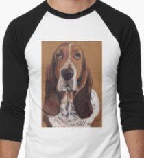 Basset Hound Vignette Men's Baseball ¾ T-Shirt