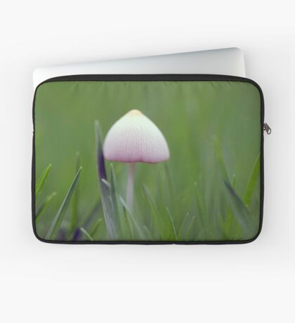 A tiny white mushroom hiding in the grass Laptop Sleeve