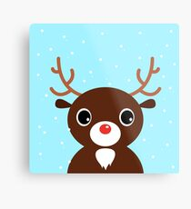New in shop : reindeer Art edition / blue Metal Print