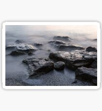 Rough and Soft - Smoky Waves and Rocks on the Beach  Sticker