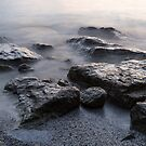 Rough and Soft - Smoky Waves and Rocks on the Beach  by Georgia Mizuleva