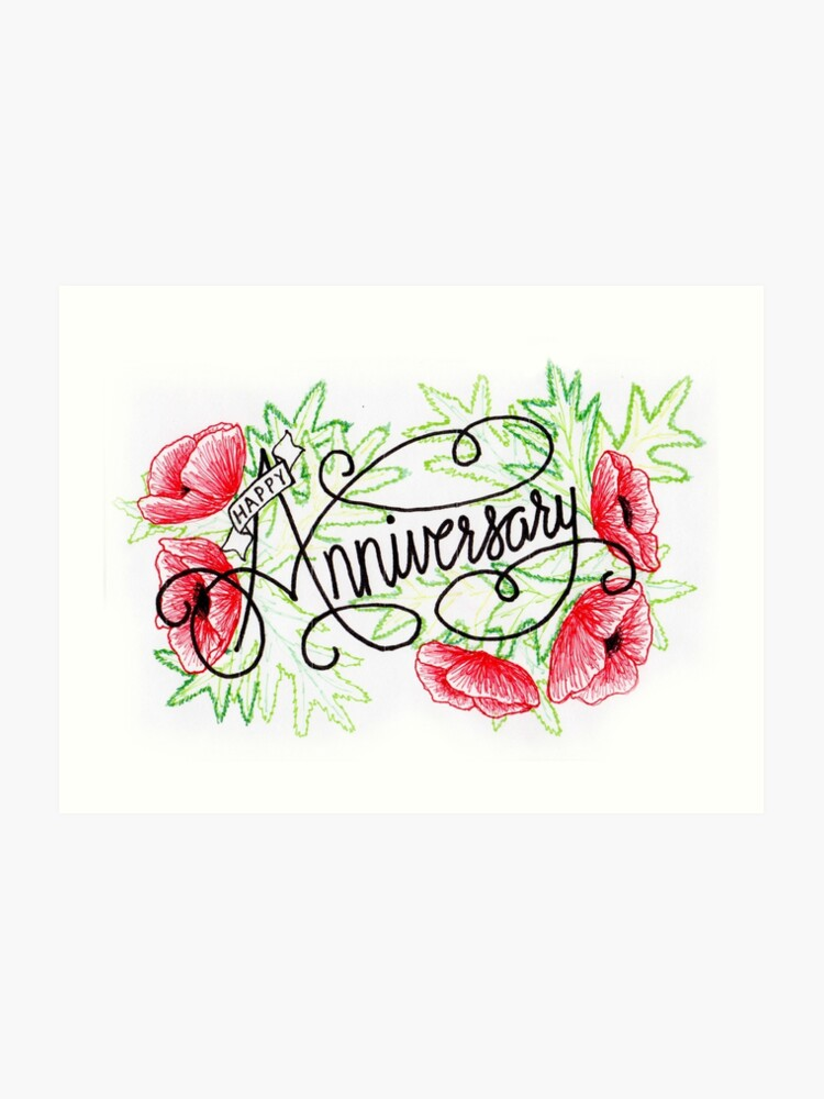 picture regarding Anniversary Card Printable identified as Hand drawn Anniversary Card Artwork Print