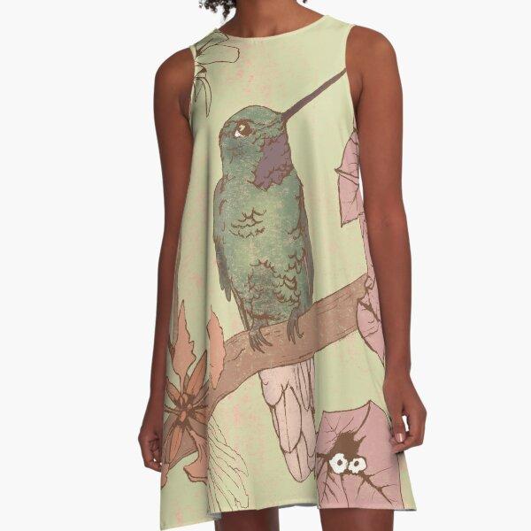 Hummingbird Among Flowers A-Line Dress