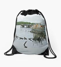 Wooden Boats - Macquarie Harbour, Strahan Drawstring Bag
