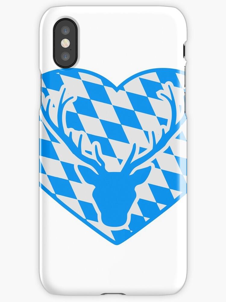 heart love symbol flag bavaria deer antlers horns oktoberfest silhouette black shirt cool design by Motiv-Lady