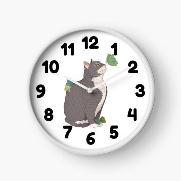 Cat and Butterflies Fantasy Art Clock