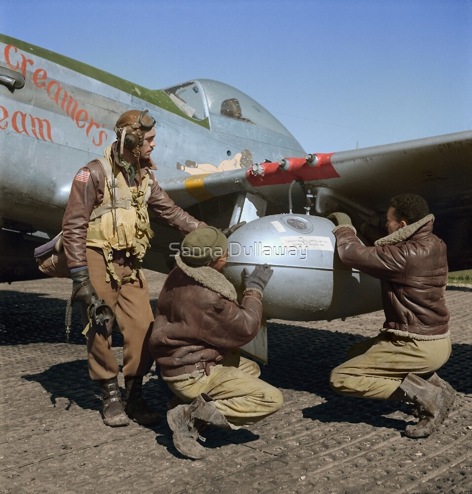 Edward C. Gleed and two other Tuskegee airman — Colorized  by Sanna Dullaway
