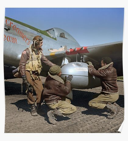 Edward C. Gleed and two other Tuskegee airman — Colorized  Poster