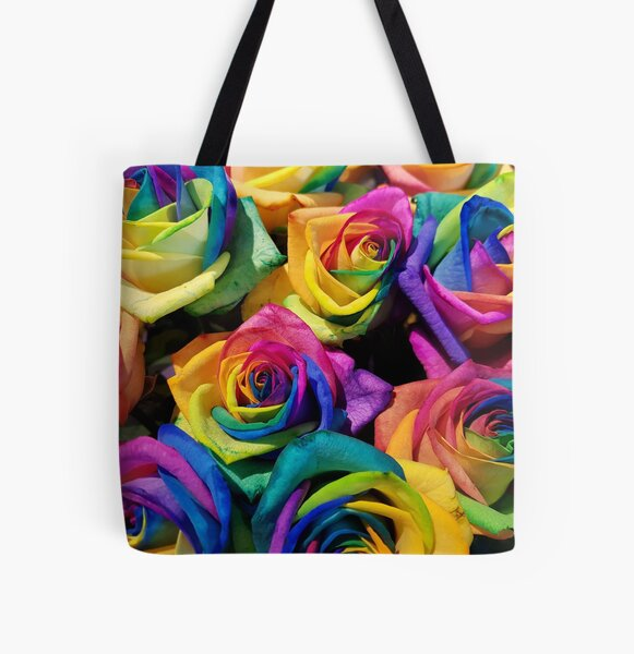 Rainbow Roses All Over Print Tote Bag