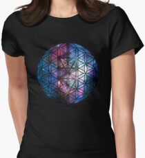 Sacred Geometry: Flower Of Life / Tree Of Life (Painted Cosmos) Women's Fitted T-Shirt